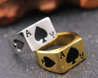Poker Spade Ace Black Silver Punk Rock Men's Stainless Steel Ring Sizes 7-14