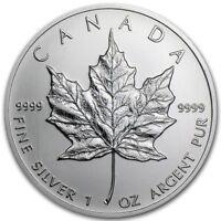 $5 Silver Canadian Maple Leaf 1 oz Random Year .9999 Fine Silver Maple Leaf