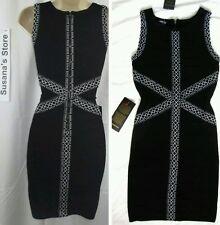 NWT BEBE JACQUARD TRIM BANDAGE DRESS SIZE XS Polished, enhances your sexy curves