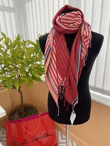 BNWT Mens Unisex Designer Paul Smith Silk Cotton Blend Red Striped Scarf