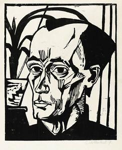 ERICH HECKEL - BILDNIS E.H. - Holzschnitt 1917
