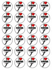 """x24 1.5"""" I Love Fencing Foil Sabre Epee Sport Cupcake Topper On Rice Paper"""