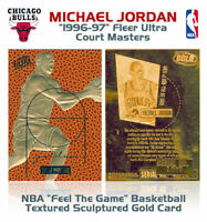 1996 Bulls MICHAEL JORDAN Fleer Court Masters NBA 23K GOLD Insert Card