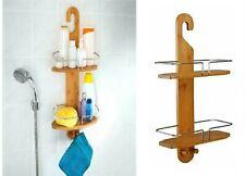 2 Tier Hanging Shower Basket Storage Caddy Unit Shelf Hook Organizer Bamboo Wood