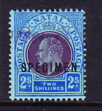 SOUTH AFRICA Natal SG167s 2/- opt SPECIMEN x2 upper purple handstamp mint no gum
