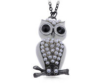 Vintage Snow White Enamel Painted Pearl Body Beaded Owl Pendant Costume Necklace