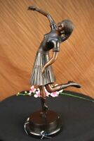Handmade Lady Dancer Chiparus Bronze Marble Sculpture Deco Figurine Art Hot Cast
