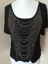 Jane Norman Black Beaded & Chain Short Sleeve Crop Top Size 6/8