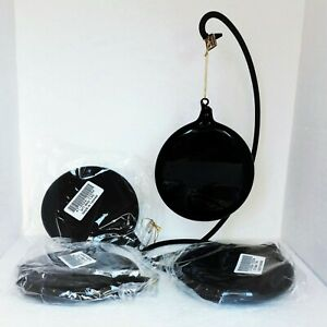 Frontgate Christmas Ornaments NEW 4 pc Set Hand Blown Black Discs Jim Marvin