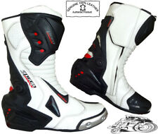Mens White & Black Motorbike / Motorcycle CE Racing Boots Sports Leather Shoes