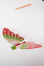 Butterfly Mobile Wood Carved Hand Painting Wooden Hanging Horn Bill Porch Decor