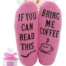 Women Girls Winter Warm Cupcake Packaging Coffee Lover Gift Letters Long Socks