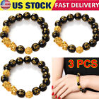 3pc Black Obsidian Feng Shui Pi Xiu Bracelet Beads Attract Good Luck Wealth Gift