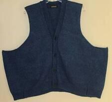 Eskandar Indigo Jean HandLoomed Blue Denim Cotton Knit Sweater Cardigan Vest O/S