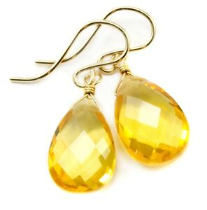 Citrine Earrings Yellow Facet Teardrop Sim Drops 14k Solid Gold Sterling Silver