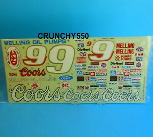 1/10 Stock Car NASCAR Decal Sticker Sheet Coors Melling Ford Vintage RC