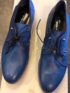 Santoni Vibrant Blue Leather Lace Up  37