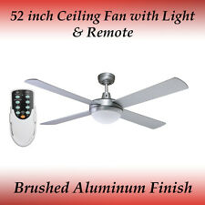 Fias Genesis 52 inch (1300mm) Silver Ceiling Fan with Light and Remote