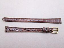 Genuine crocodile lady's watch band dark brown 10mm lug size Long NOS Germany