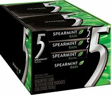 5 Gum Sugar Free Gum, Spearmint Rain, 15 Piece Pack (10 Packs)
