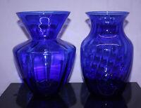 """2 Cobalt Blue Vases 8"""" ~ Urn Shape Swirled Sides & Flared Shape Ribbed Sides"""