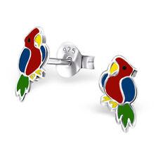Sterling Silver 925 Bright Epoxy Parrot Bird Stud Earrings