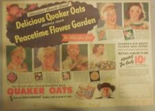"Quaker Cereal Ad: ""Peace Time Flower Garden"" Premium from 1940's 11 x 15 inches"