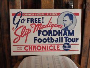 >orig. 1920's-30's FOOTBALL SIGN Slip Madigan SAINT MARY'S GAELS vs FORDHAM RAMS