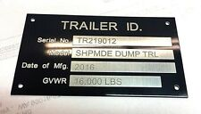 Engraved Trailer Equipment Plate Tag Serial Model Id # High Quality Black Chrome