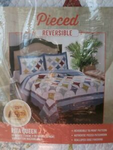 NEW MIP Pieced REVERSIBLE RITA QUEEN QUILT Cracker Barrel