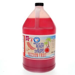 Snow Cone or Hawaiian Shaved Ice Syrup, Passion Fruit, Ready to Use, Gallon