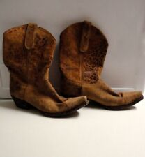 OLD GRINGO Brown Suede Animal Print Casual Ankle Cowboy Boots Size 9.5B B5018
