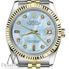 Men's Rolex 36mm Datejust 2 Tone White MOP Mother Of Pearl with 8+2 Diamond