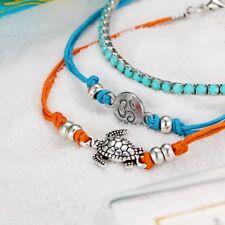 3pcs Charm Carved Turtle Pendant Anklet Bracelet Leather Women Beach Accessories