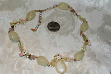 SALE! VTG WHITE GLASS BEADS/SHELL CHIP BEADS&PINK&CLEAR GLASS BEADS MARKED VCLM