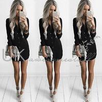Womens Plain Shirt Dress Ladies Long Sleeve Casual Sexy Shirt Dress Size 6 - 14