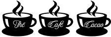 Sticker Cuisine Lot 3 Tasses de Thé, Café, Cacao Fumant (30x18 cm à 50x30 cm)