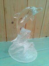 CRYSTAL D' ARQUES  DOLPHIN FIGURINE   CLEAR GLASS