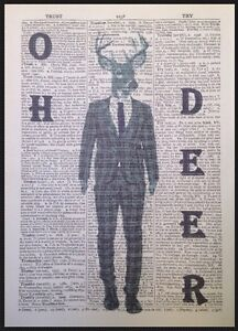 Vintage Stag Deer Print Dictionary Page Wall Art Picture Grey Tartan Hipster
