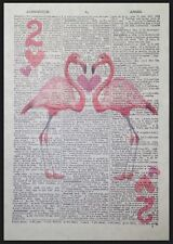 Vintage Pink Flamingo Playing Card Print Two Hearts Dictionary Wall Art Picture