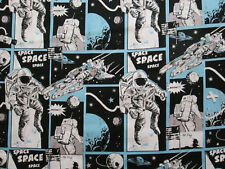 SPACE SHIPS ASTRONAUTS STARS PLANETS BLUE BLACK COTTON FABRIC FQ