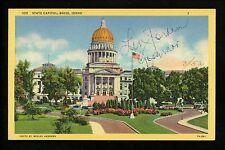 Political Governor Signature postcard linen Leonard Jordan 1951-1955 Boise, Id