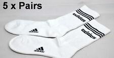 Adidas 3 Stripes Socks 5x Pairs White Sport Business Running School Soccer Work