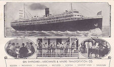Postcard MERCHANTS & MINERS TRANSPORT CO On Board Ship Cruise Line Piano Dining