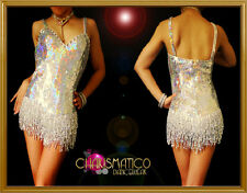 Showgirl's iridescent silver sequin dance dress with seed beaded fringe