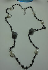 """DEVINE BLACK SPINEL & FWP NECKLACE W/ 925 SS CHAIN & CLASP ~ 27""""L ~ INDIA  NWT"""