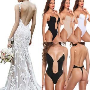 Women Body Shaper Deep V Bodysuit One Piece Seamless Push Up Bra Sleepwear Soft