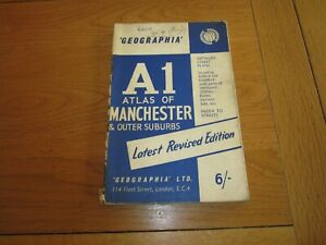 A1 ATLAS OF MANCHESTER Map 1960'S Street map & Outer Suburbs Geographia City Map