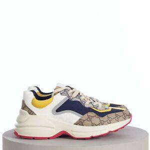 GUCCI 830$ Men's GG Rhyton Sneaker In Beige/Ebony Original GG Canvas