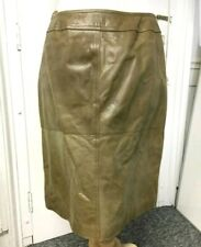 Olive green vintage belted real leather skirt size 16/18.